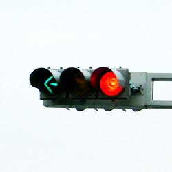 岐阜市内の矢印灯火を節約した信号機(2002年12月)